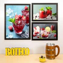 Kit Especial - 3 Quadros Red Drinks - 45x33 e 33x22 cm