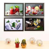 Kit Especial - 4 Quadros Decorativos Mix Home Bar - 33x22 cm