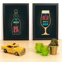 Kit Especial - Quadros All you need is beer + To be or not to be - Cores - 33x23cm