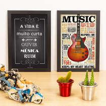 Kit Especial - Quadros A vida é curta + Music - 33x22 cm