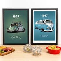 Kit Especial - Quadros Fusca + Kombi Vintage - 45x33 cm