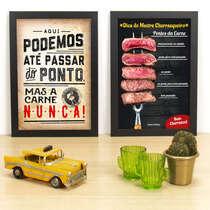 Kit Especial - Quadros Nunca passamos do ponto da carne + Pontos da carne - 33x22 cm