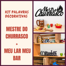 Kit Palavras Decorativa para Parede - Mestre do Churrasco + Meu Lar Meu Bar