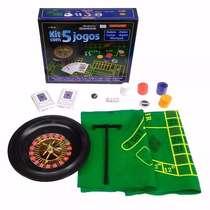 Kit com 5 jogos - Roleta, Poker, Cartas, Dados e Blackjack