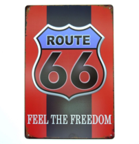 Placa Decorativa em Metal Route 66 Freedom G - 30x20 cm