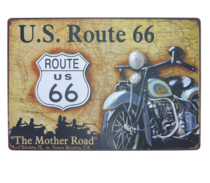 Placa Decorativa em Metal U.S Route - 40x30 cm