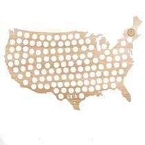 Mapa para coleção de tampinhas - EUA - 124 Tampinhas