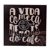 Placa Decorativa em Metal - Depois do Café - 20x20 cm