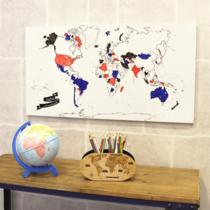 Placa Mural Decorativo p/ Colorir - Mapa Mundi - 35 x 69 cm