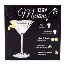 Placa Decorativa em Metal Dry Martini - 20x20cm