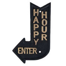 Placa Decorativa de Ferro Happy Hour - 21 x 12,5 cm