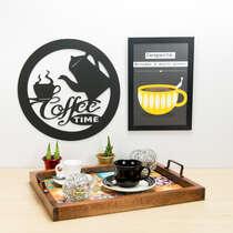 Palavra Decorativa para Parede - Coffee Time - 36 cm