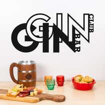 Palavra decorativa para parede - Gin Club Bar - 19x39 cm