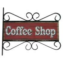 Flange Decorativa de Metal 28,5 x 32,5 cm - Coffee Shop