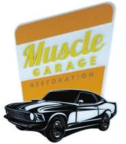 Placa Artesanal Laqueada - Muscle Garage