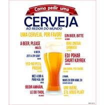 Placa Decorativa MDF - Cerveja pelo mundo - 22x19cm
