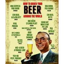 Placa Decorativa MDF - Pedindo cerveja pelo mundo - 22x19cm