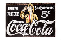 Placa Decorativa de Madeira 29x42cm -Relieves Coca Cola