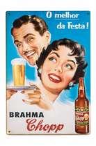Placa Decorativa de Madeira 29x42cm - O Melhor da Festa Brahma