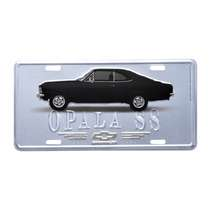 Placa Decorativa de Metal 15 x 30 cm - GM Opala 1971 Preto e Prata