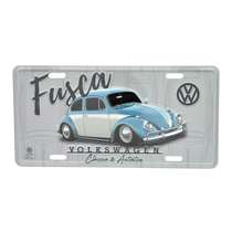 Placa Decorativa de Metal 15 x 30 cm - VW Fusca Authentic  - Fundo Cinza