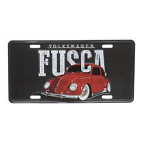 Placa Decorativa de Metal 15 x 30 cm - VW Fusca Classic - Fundo Preto
