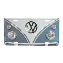 Placa Decorativa de Metal 15 x 30 cm - VW Kombi Azul e Branco