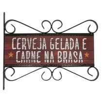 Flange Decorativa de Metal 28 x 32 cm - Cerveja & Carne
