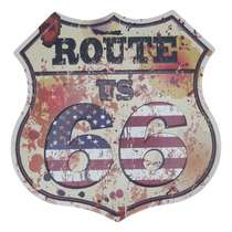 Placa Decorativa de Metal 30 x 30 cm - Route 66