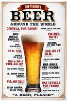 Placa Decorativa de Metal 30x20cm - Beer Around the World