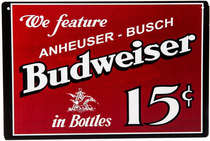 Placa Decorativa de Metal 30x20cm - Budweiser 15¢