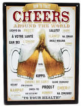 Placa Decorativa de Metal 30x20cm - Cheers Around the World