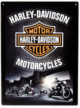 Placa Decorativa de Metal 30x20cm - Harley-Davidson Motorcycles Bridge