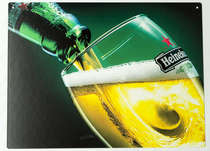 Placa Decorativa de Metal 30x20cm - Heineken Onda