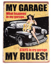 Placa Decorativa de Metal 30x20cm - My garage My rules