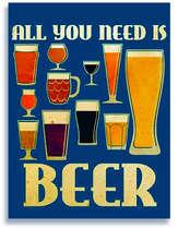 Placa Decorativa de Metal 30x40cm - All you need is Beer