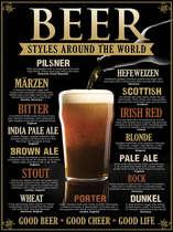 Placa Decorativa de Metal 30x40cm - Beer Styles - LANÇAMENTO