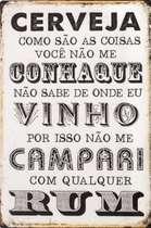 Placa Decorativa de Metal 30x20cm - Cerveja Vinho Rum