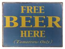 Placa Decorativa de Metal 30x40cm - Free Beer