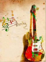 Placa Decorativa de Metal 30x40cm - Guitar