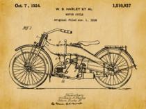 Placa Decorativa de Metal 30x40cm - Patente Harley Davidson 1919