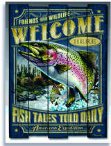 Placa Decorativa de Metal 30x40cm - Welcome Fish