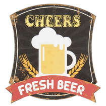 Placa Decorativa em Metal - Fresh Beer - 30x30 cm