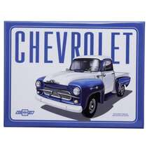 Placa Decorativa de Metal - GM Pick Up 3100 Authentic Azul - 19 x 26 cm