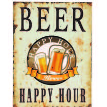 Placa Decorativa de Metal 30 x 40 cm - Happy Hour