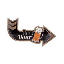 Placa Decorativa de Metal - Happy Hour - Preta