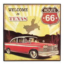 Placa Decorativa de Metal - Welcome to Texas - 30x30 cm