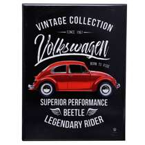 Placa Decorativa de Metal - Volkswagen Fusca Born to Ride - 26 x 19 cm