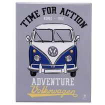 Placa Decorativa de Metal - VW Kombi Time for Action -- 26 x 19 cm