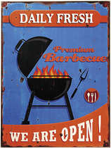 Placa MDF - BBQ We Are Open- 30x40 cm